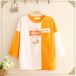 Kawaii Fairyland - Orange Print Color-Block Elbow-Sleeve T-Shirt