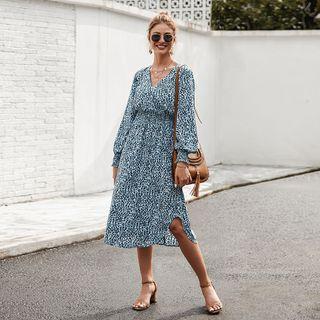 TRUMMENT - Leopard Print Long-Sleeve Midi A-Line Dress