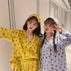 Tanee - 家居服套裝:草莓印花長袖上衣 + 長褲 + 眼罩