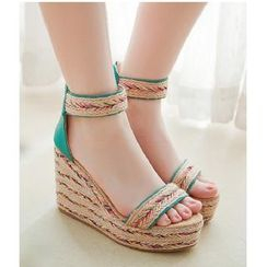 Freesia - Ankle-Strap Espadrille Platform Wedge Sandals