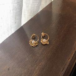 UPTOWNHOLIC - Faux-Pearl Round Earrings