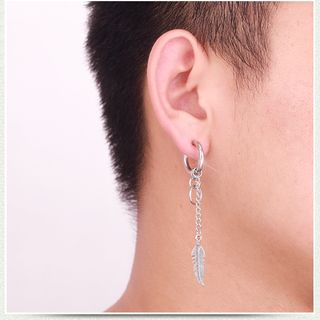 Prushia - Stainless Steel Feather Dangle Earring