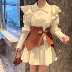Astarte - Ruffle Trim Mini A-Line Shirtdress / Corset Belt