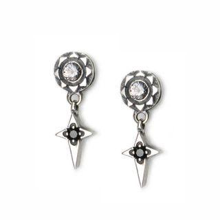 Sterlingworth - Engraved Sterling Silver Cross Earring - White Topaz (Single)