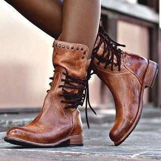 Cinnabelle - Faux Leather Lace-Up Mid-Calf Boots