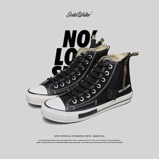Denjo - 印字高帮系带运动鞋