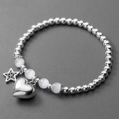 A'ROCH - 925 Sterling Silver Heart & Star Bracelet