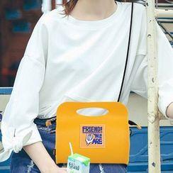 YUPIN - Applique Faux Leather Handbag With Shoulder Strap