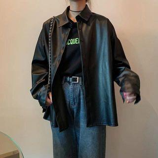 palajana - Faux Leather Shirt Jacket