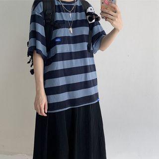 Oolun - Striped  Short-Sleeve T-Shirt