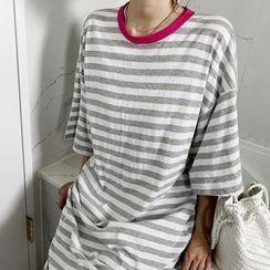 NANING9 - Stripe Long T-Shirt Dress