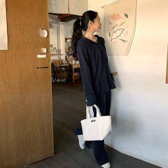 FROMBEGINNING - Monotone Hoodie & Pants Loungewear Set