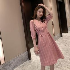 Sienne(シエンヌ) - Plaid Elbow-Sleeve Button-Up A-Line Dress