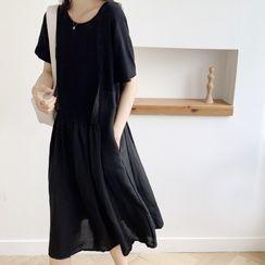 Finlo - Short-Sleeve Linen Midi A-Line Dress