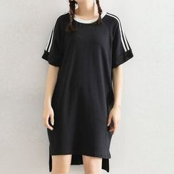 Ashlee - Striped Short-Sleeve T-Shirt Dress
