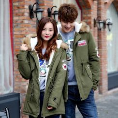 YIKES(ヤイクス) - Furry Trim Hooded Applique Padded Coat