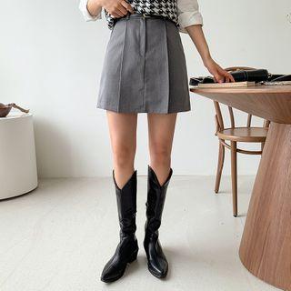 Envy Look - Box-Pleat Miniskirt with Belt