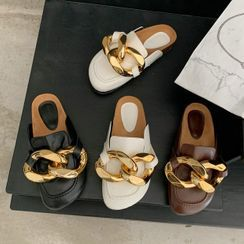 KICKOFF - Chunky Metal Accent Flat Mules