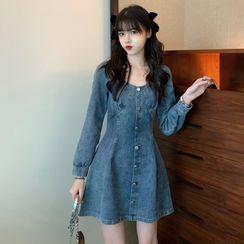 Guajillo - Long-Sleeve Denim Button-Up Mini Dress