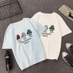 Carmenta(カルメンタ) - Short-Sleeve Cartoon Printed T-Shirt