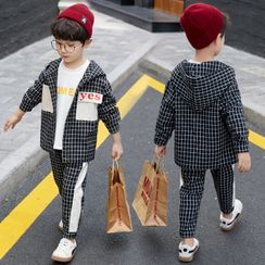 Cherry Pie - Kids Set: Plaid Lettering Hooded Button Jacket + Cropped Pants