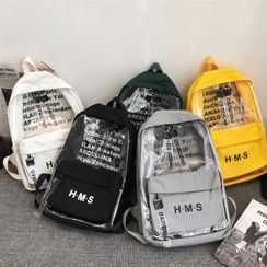 SUNMAN(サンマン) - Lettering Print Canvas Backpack