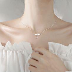 Hansha - 925 Sterling Silver Rhinestone Heartbeat Pendant Necklace