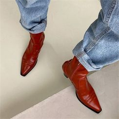 MONOBARBI - Pointy-Toe Stitched Sock Boots
