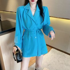 Sienne - Sashed Double Breasted Chiffon Blazer