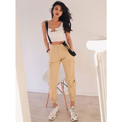 Colada - High-Waist Crop Jogger Pants with Suspender