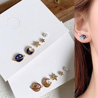 Cuivre - Set: Rhinestone Planet Moon & Star Earring (assorted designs)