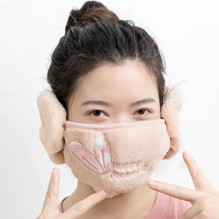 Popcorn - Embroidered Warming Face Mask with Earmuffs