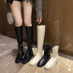 YAZZIONE - Faux-Leather Plain Ankle Boots