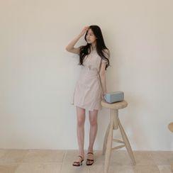 CHERRYKOKO - Wrap-Front Stripe Shirtdress
