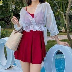 Lohto - 套装: 纯色连衣泳裙 + 薄外套