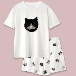 Endormi - Pajama Set: Short-Sleeve Cartoon Cat Print T-Shirt + Shorts