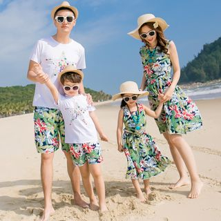Hinode - Family Matching Short Sleeve T-Shirt / Floral Print Shorts / Sleeveless Sundress / Set