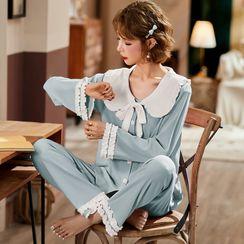 Ciambella - Pajama Set: Frilled Trim Shirt + Pants
