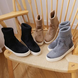 JUSTONE - Knit-Panel Faux-Suede Sock Boots