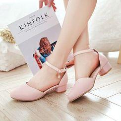 Shoes Galore - Ankle Strap Block Heel Pumps