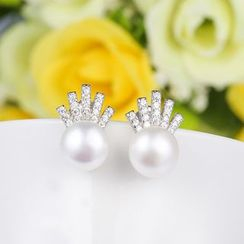 Zundiao - Sterling Silver Beaded Rhinestone Earrings