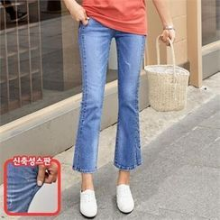 PIPPIN - Slit-Hem Semi Boot-Cut Jeans