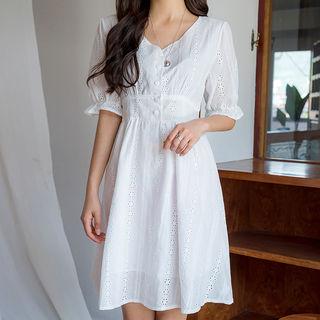 Envy Look - Half-Placket Eyelet-Lace Dress