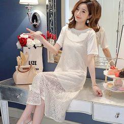 EZ Life - 孕婦套裝: 短袖T裇 + 細肩帶蕾絲連衣裙