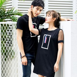 NoonSun - Couple Matching Printed Short-Sleeve T-Shirt / T-Shirt Dress