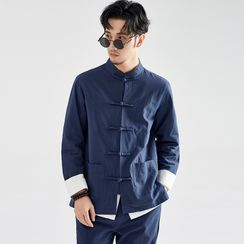 Ashen - Frog-Button Shirt / Frog-Button Jacket / Straight-Cut Pants / Set