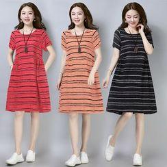 Sienne(シエンヌ) - Short-Sleeve Striped A-Line Dress