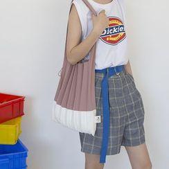 TangTangBags - 双色打褶针织手提袋