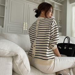 DABAGIRL - Button-Back Stripe Top