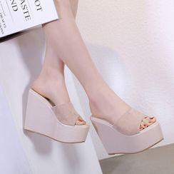 DEWA - Platform Wedge-Heel Slide Sandals